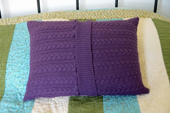 Upcycled pillow back