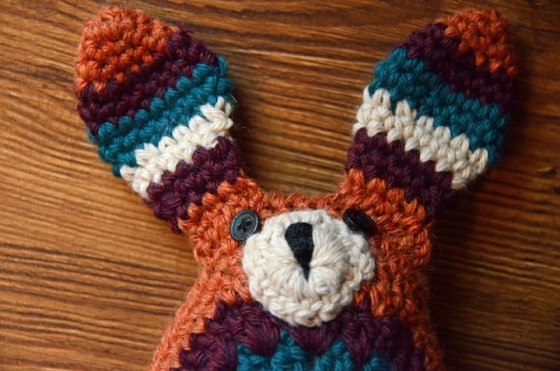 Crochet bunny closeup